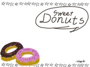 ポップでガーリーなドーナツのイラストとSweet Donutsの吹出しと星の飾り罫のフリー素材:640×480pix