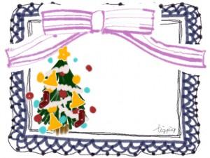 クリスマスツリーとピンクのリボンと紺色のレースのフリー素材:640×480pix