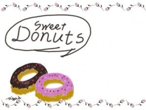 かわいいドーナツのイラストとSweetDounutsの手書き文字と薔薇のライン:640×480pix