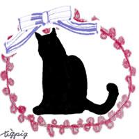 猫のシルエットのイラストとブルーのりぼんとピンクのポンポンレースのフリー素材:200×200pix