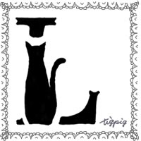 大人可愛いモノトーンの猫のシルエットの飾り文字「L」とレースの枠のフリー素材:200×200pix