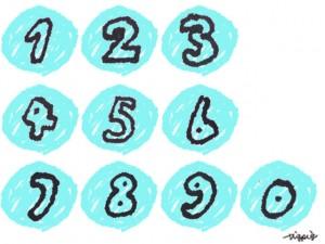 0から9の数字の手書きの飾り文字とパステルブルーの丸い背景のフリー素材
