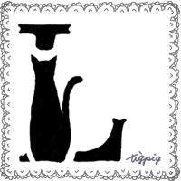 モノトーンの猫のシルエットのイラストとレースの飾り枠のフリー素材:200×200pix