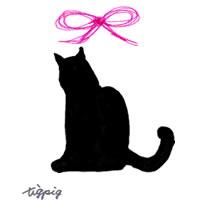 モノトーンの猫のシルエットのイラストとピンクのリボンのフリー素材:200×200pix