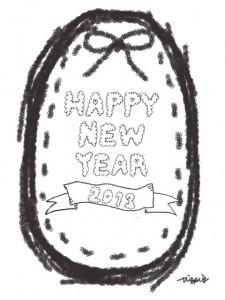 モノトーンのもこもこのHAPPY NEW YEAR 2013 の手書き文字とリボンとステッチのラベル:480×640pix