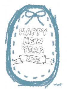 HAPPY NEW YEAR 2013 のもこもこの手書き文字とブルーのリボンとステッチのラベル:480×640pix