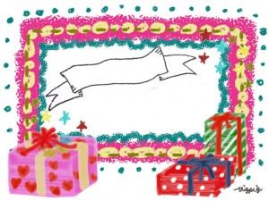 プレゼントボックスとピンクのフレームとアンティーク風のリボンのフリー素材:640×480pix