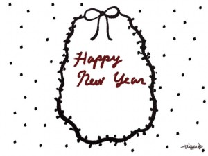 茶色の筆記体の手書き文字HAPPY NEW YEARとリボンとドットのフリー素材:480×640pix