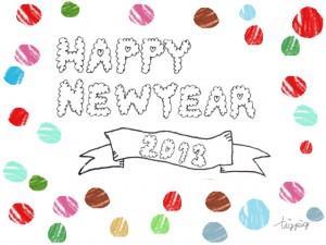 もこもこの手書き文字HAPPY NEW YEAR 2013とカラフルなドットのフリー素材:480×640pix