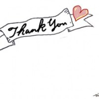 Thank youの手書き文字とハートとリボンの見出しのフリー素材:640×480pix