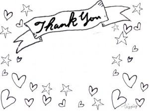 Thank youの手書き文字とリボンの見出しとハートと星のモノトーンのフリー素材:640×480pix