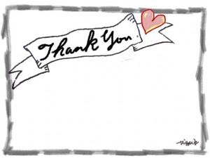 Thank youの手書き文字とハートとリボンの見出しと鉛筆のラフなラインのフレームのフリー素材:640×480pix