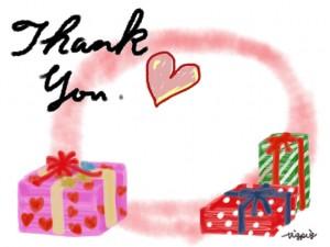 Thank youの手書き文字とハートとプレゼントボックスのフレームのフリー素材:640×480pix