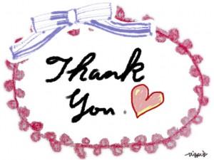 Thank youの手書き文字とハートとリボンとピコットレースのフリー素材:640×480pix
