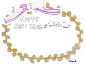 HAPPY NEW YEAR 2013 の手書き文字とリボンとピコットレースのラベルのフリー素材:640×480pix