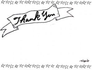 モノトーンのThank Youの手書き文字のリボンの見出しと星のラインのフリー素材:640×480pix