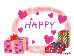 HAPPYの手書き文字とプレゼントボックスとハートいっぱいのフリー素材:640×480pix