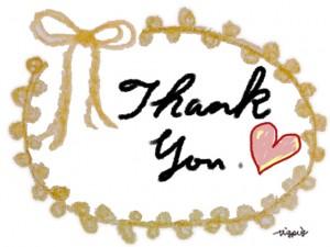 Thank Youの手書き文字とリボンとピコットレースのラベルのフリー素材:640×480pix