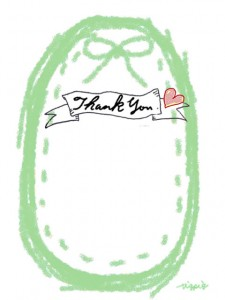 Thank youの手書き文字とピンクのハートとリボンとステッチのラベルのフリー素材:480×640pix