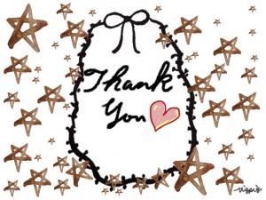 水彩の星とThank youの手書き文字とピンクのハートとリボンのフリー素材:480×640pix