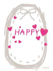 HAPPYの手書き文字とピンクのハートとグレーのリボンとステッチのラベルのフリー素材:480×640pix