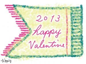 大人可愛いエンブレムと2013 happy Valentine の手書き文字のラベルのフリー素材:480×640pix