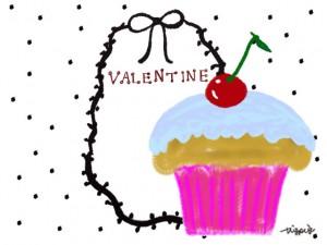 サクランボのカップケーキとVALENTINEの手書き文字とリボンのフレームのフリー素材:640×480pix