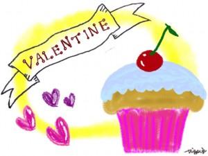 サクランボのカップケーキとVALENTINEの手書き文字のリボンとハートのフリー素材:640×480pix
