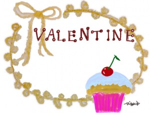 サクランボのカップケーキとVALENTINEの手書き文字のリボンとレースのフレーム:640×480pix