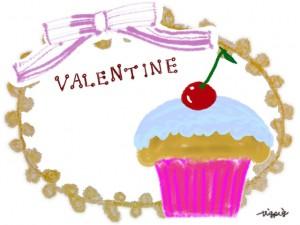サクランボのカップケーキとVALENTINEの手書き文字とリボンとレースの飾り枠のフリー素材:640×480pix