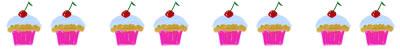 ガーリーで大人可愛いカップケーキのイラストの飾り罫のフリー素材:400×50pix