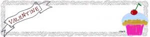 サクランボのカップケーキとVALENTINEの手書き文字とレースのフレームのヘッダー用フリー素材:800×200pix