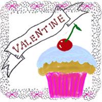 アイコンのフリー素材:サクランボのカップケーキとVALENTINEの手書き文字とレースのフレーム;200×200pix