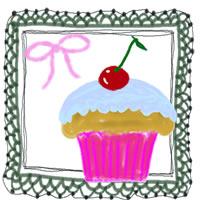 アイコンのフリー素材:サクランボのカップケーキとレースのフレーム;200×200pix