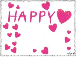 HAPPYの手書き文字とピンクのハートの囲み枠のフリー素材:640×480pix