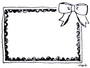 大人可愛いモノトーンのリボンと手描きラインのフレームのフリー素材:640×480pix