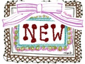 """フリー素材:手描きの大きな""""NEW""""の手書き文字とレースとリボンのフレーム;640×480pix"""