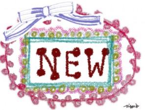 """ガーリーな""""NEW""""の手書き文字とリボンとピコットレースのフレームのフリー素材:640×480pix"""