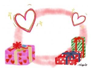 手描きのハートとプレゼントボックスとピンクの水彩にじみのフレームのフリー素材:640×480pix