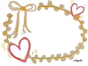 手描きのハートと芥子色のりぼんとピコットレースのフレームのフリー素材:640×480pix