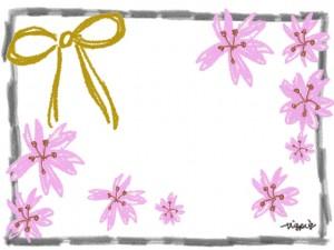 モノトーンの鉛筆のラインのフレームと芥子色のリボンと桜のフリー素材:640×480pix