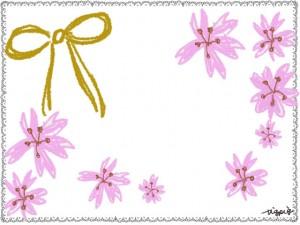 モノトーンのレースと芥子色のリボンと桜のフリー素材:640×480pix