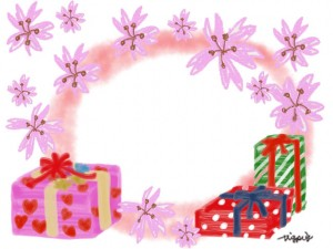 大人可愛い桜とプレゼントボックスと水彩のにじみのフレームのフリー素材:640×480pix