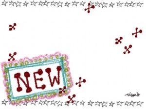 """クレヨン風の""""NEW""""の手書き文字と星とクロスのフレームのフリー素材:640×480pix"""