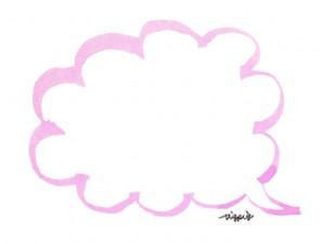 大人可愛い手描きの水彩ペン画きのフキダシのフリー素材:640×480pix