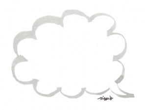 モノトーンの大人可愛い手描きの水彩ペン画きのフキダシのフリー素材:640×480pix