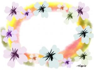 フリー素材:北欧風のシンプルな花と水彩のにじみの背景のフレーム640×480pix