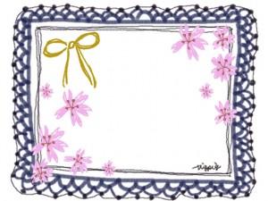 ピンクの桜の花のイラストと大人可愛いネイビーブルーのレースのフレームのフリー素材