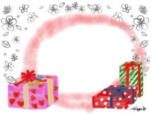 大人可愛いプレゼントボックスとモノトーンの小花と水彩のにじみの背景のフレームのフリー素材