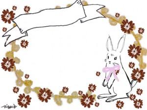 ガーリーで大人可愛いウサギと花とリボンの見出しのフレームのフリー素材
